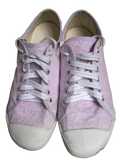 Tênis Feminino Tecido Estilo All Star Lilás Branco Prata 35
