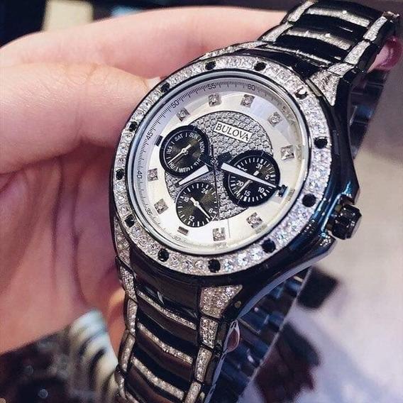 Relógio Bulova Crystal Diamond Preto Pouquissimo Usado