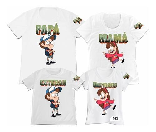 Camiseta Set 4 Papa Mama Hijo Gravity Falls Dipper Mabel