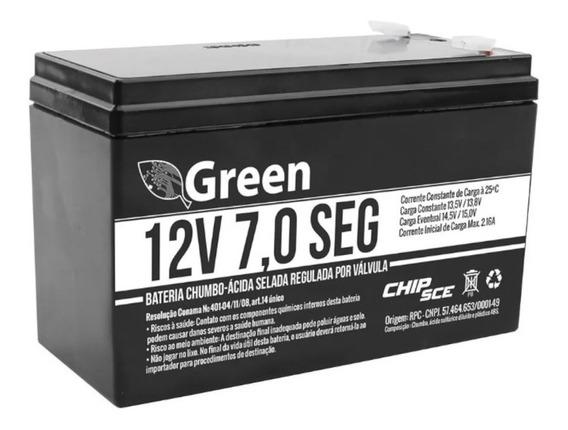 Bateria 12v 7a Green Alarme Cerca Elétrica Segurança Nobreak