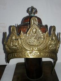 Elmo Budista Do Nepal Séc Xvii - Bronze/cobre Raridade Museu