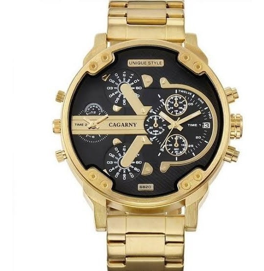 Relógio Masculino Dourado Cagarny Original Pronta Entrega