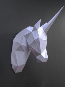Papercraft Escultura De Parede Cabeça Unicórnio Com Vídeo
