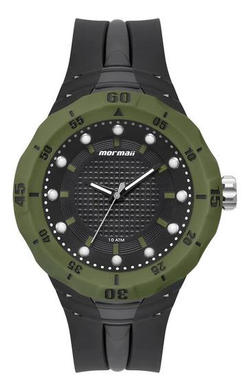 Relógio Masculino Preto E Verde Militar Mormaii +brinde