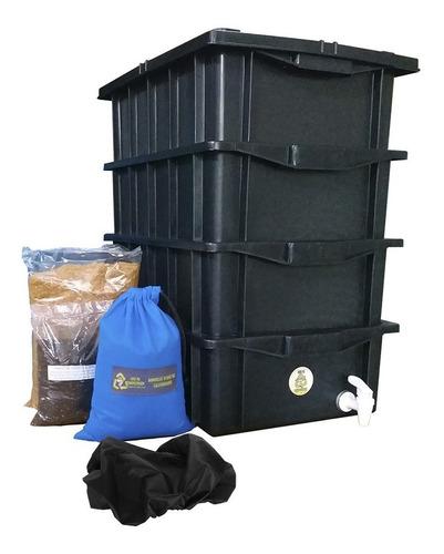 Composteira Com 4 Caixas Completa Minhocas, Húmus Serragem