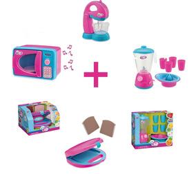 Kit Cozinha Infantil 4 Brinquedos Microondas Batedeira