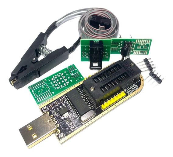 Programador Ch341 Usb Y Pinza Soic8 Eeprom 24/25 Zif Bios