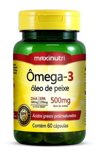 Ômega 3 Óleo De Peixe 500 Mg Maxinutri 60 Cápsulas