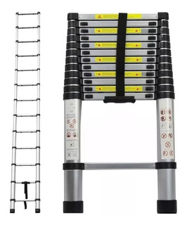 Escada Telescópica Alumínio 3,8 M 12 Degraus Multifuncional