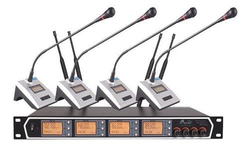 4 Microfonos Inalambrico Uhf Para Conferencia Gbr 2633jp
