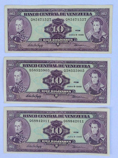 Billetes 10 Bolívares Junio 5 De 1995 Seriales Q8 Q5 Q6