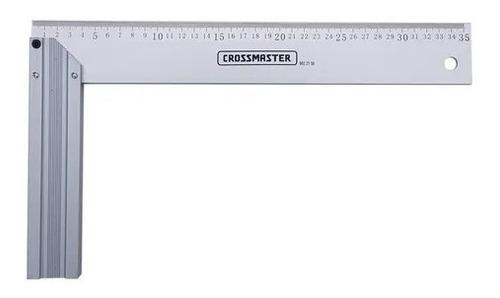 Imagen 1 de 2 de Escuadra Carpintero Regla Metal Aluminio 300mm Crossmaster