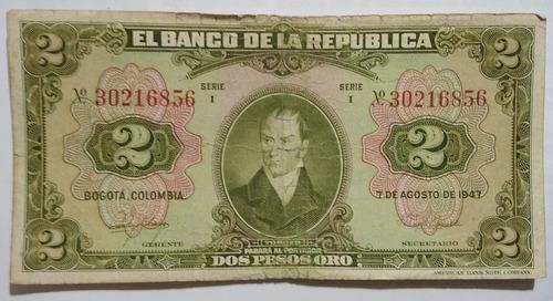 Imagen 1 de 2 de Colombia Billete 2 Pesos Año 1947 S 6856