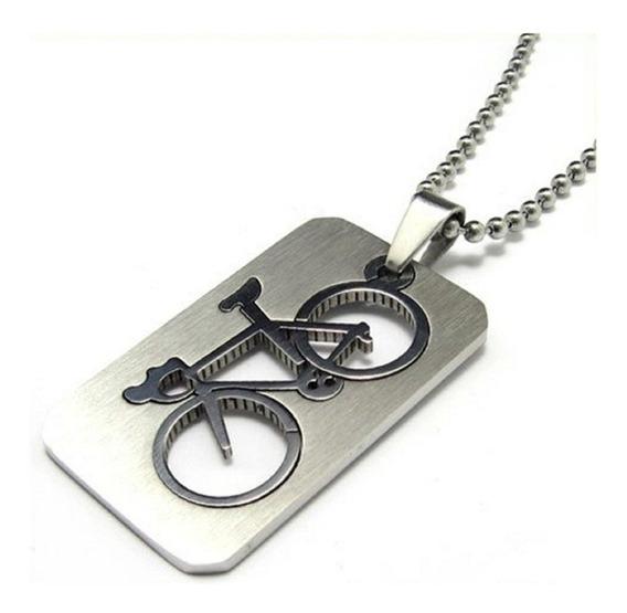 Colar Cordão Placa Metal Bike Bicicleta Ciclismo Pedalo