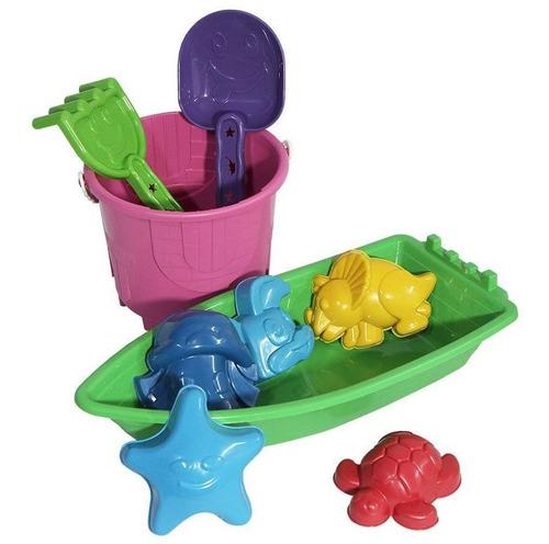 Imagem 1 de 1 de Kit Verão Areia Balde Barco E Forminhas Brinquedo Praia Rosa