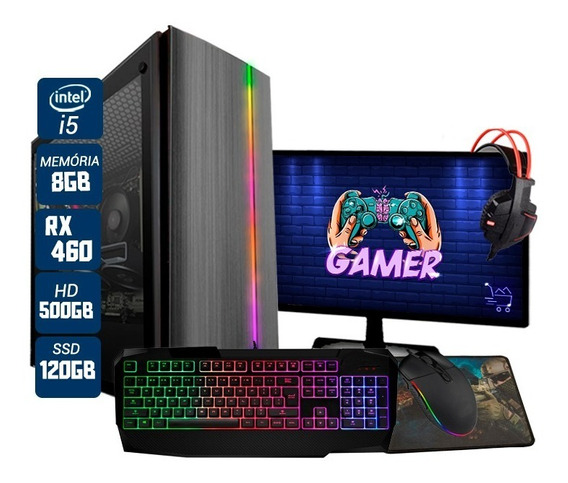 Pc Gamer Thargon Intel I5 Rx 460 8gb Hd 500gb Ssd 120gb
