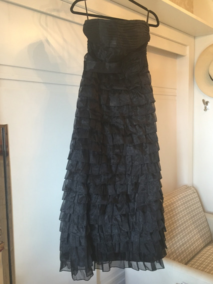 Vestido Tomara Que Caia Preto Com Organza Drapeada