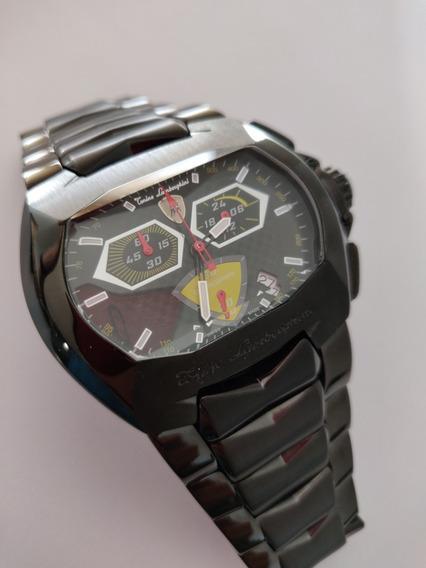 Relógio Lamborghini Preto Cronógrafo Amarelo!