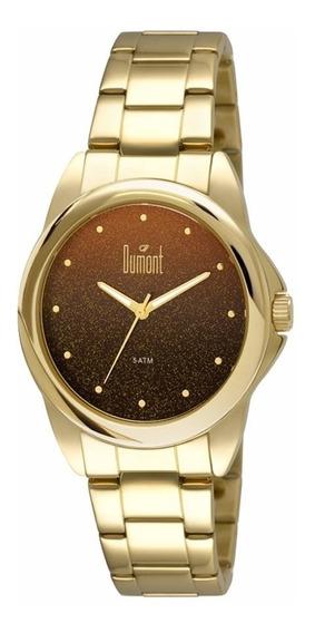 Relógio Feminino Dumont Dourado Visor Mostrador Marrom