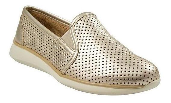 Zapatos Sneaker Dama Mujer Flexi Perforado Casual Oro