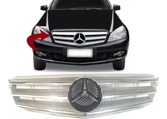 Grade Dianteira Mercedes C180 C200 C280 Ano 2007 2008 2009 2010 2011 Cinza Com Frisos Cromados