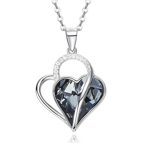 Elegante Dije Plata 925 Cristal Exquisito Joyería Corazón