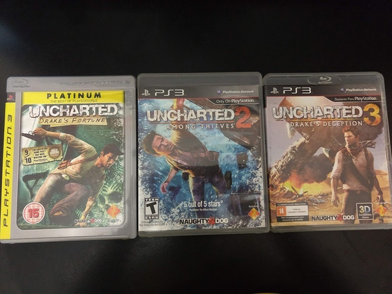 Trilogia Uncharted 1 2 3 Kit Ps3 Playstation 3 Mídia Física