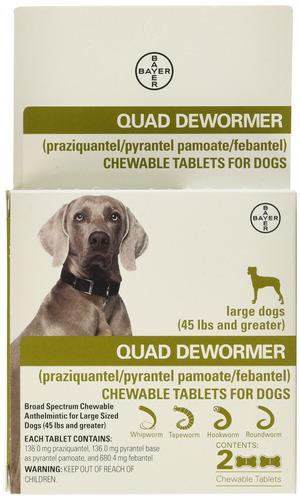 Imagen 1 de 8 de Desparasitante Cuádruple Para Perros Grandes (más De 45 L