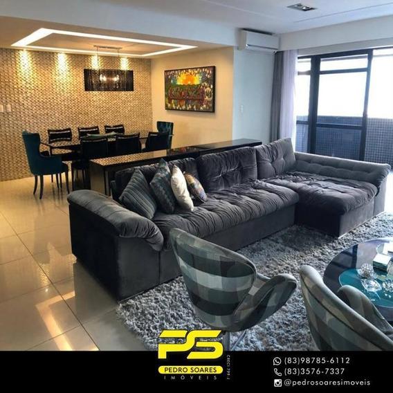 ( Mobiliado ) Apartamento Com 4 Dormitórios Para Alugar, 130 M² Por R$ 7.000/mês - Brisamar - João Pessoa/pb - Ap3277