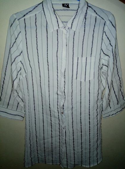 Camisa De Vestir De Mujer 3/4 Blanca Con Rayas