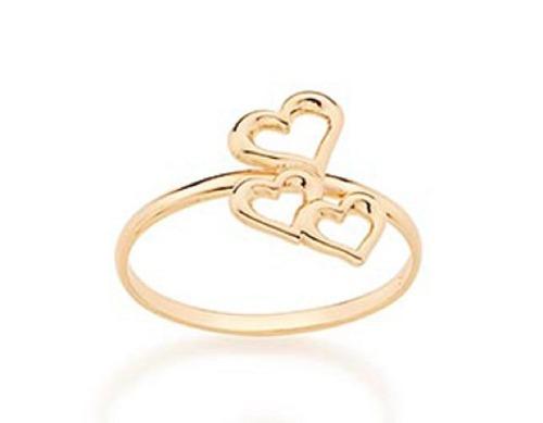 Anel Folheado A Ouro Rommanel Skinny Ring E Corações 512736