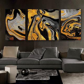 Set 3 Cuadros Canvas Abstractos Dorados Tipo Oleo Modernos