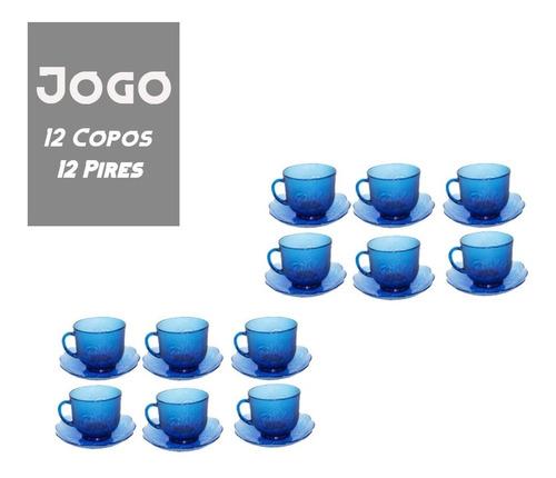 Kit Jogo De Xicara Cha Azul Rosas 200ml 24 Pcs (c/pires)