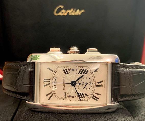 Cartier Tank Americano Xl De Ouro Branco Chrono E Completo!