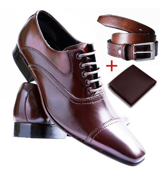 Sapato Social Masculino Verniz - Promocao + Carteira E Cinto