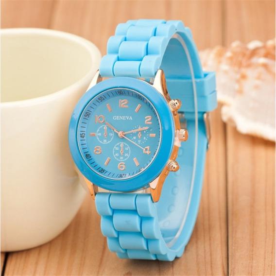 Relógio Feminino Casual Esporte Silicone Azul