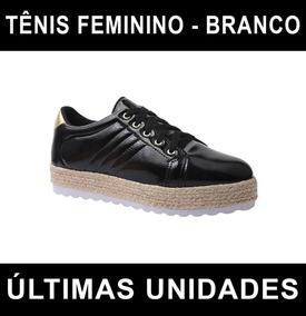 Tênis Feminino Solado Alto Tratorado - Preto