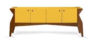 Balcão Buffet 4 Portas Brasa 722 Cacau/amarelo - Maxima