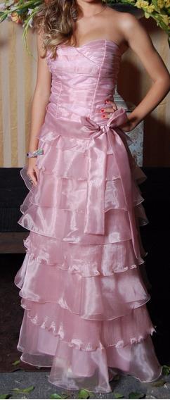 Vestido De Festa Longo Rosa Seco Princesa Formatura 15 Anos