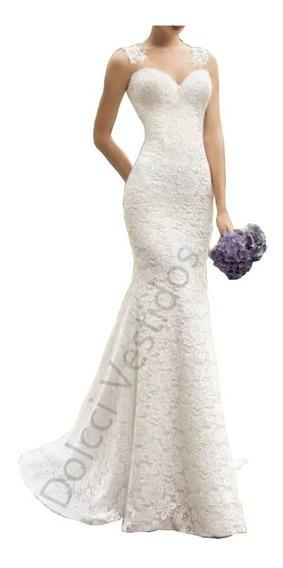 Vestido Sereia Longo De Festa/noiva Em Renda 039