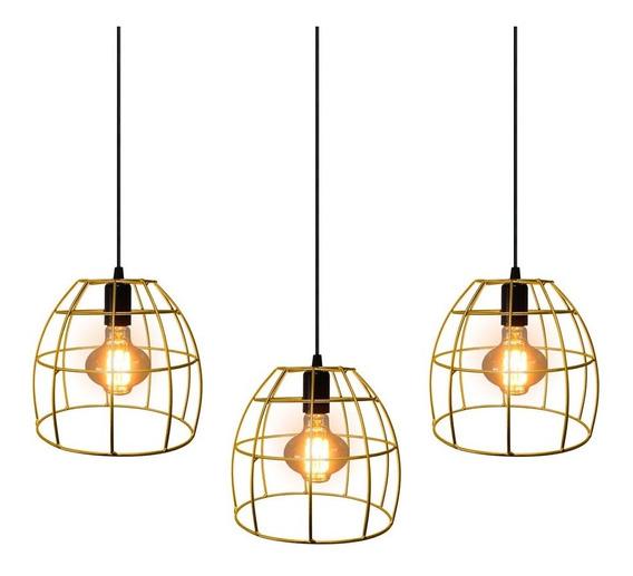 Trio Pendente Lustre Luminária Aramado Oval Dourado