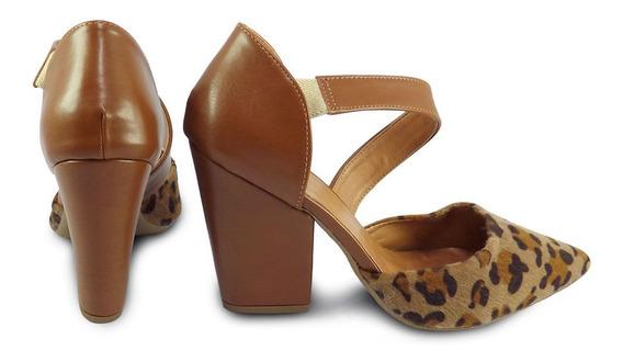 Sapato Feminino Bico Fino Meio Salto Grosso Nobuck
