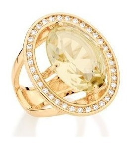 Anel Rommanel Pedra Amarela 511849