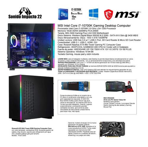 Msi 7c75-007r Gaming Desktop Computer Intel Core I7-10700k