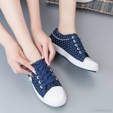 Tenis Andrea Polka Dots Azules/blanco Talla 23 Tipo Skate