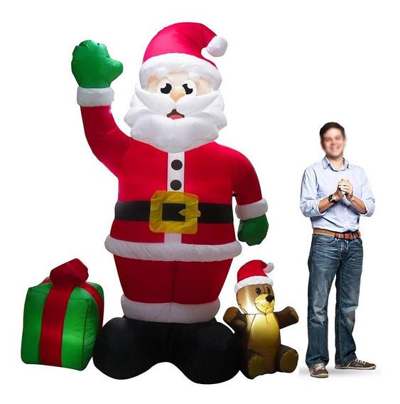 Papai Noel Gigante Natal Decoracao Natalina Presente E Urso Inflavel 2 Metro E 40cm