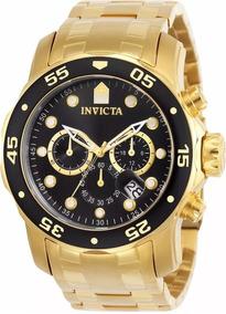 Relógio Invicta Pro Diver 0072 B. Ouro 18k Mostrador Preto