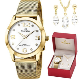 Relógio Champion Feminino Cn29098w + Kit De Brincos E Colar