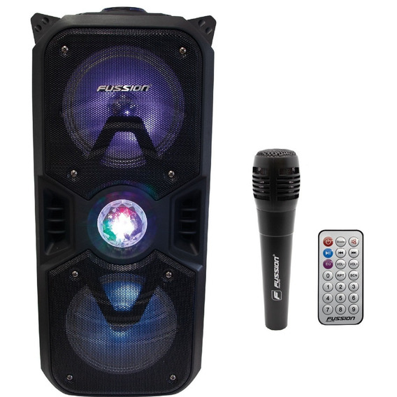 Bafle Recargable Bocina 2x6.5 Bluetooth Usb Fm Luz 9997