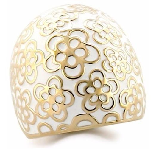 Anel Branco Flor Esmaltado Folheado A Ouro 18k Luxo